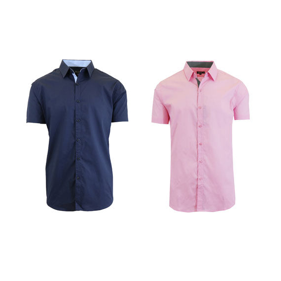 Men's Slim Fit Short Sleeve Button-Down Dress Shirt - 2 Pack-Navy-Pink-Small-Daily Steals