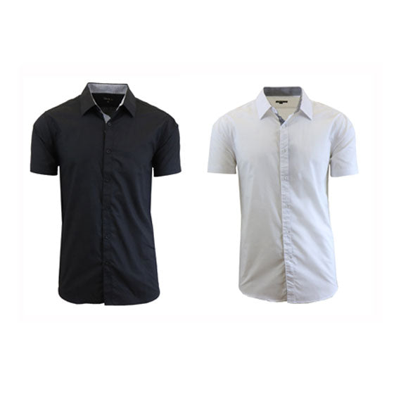 Men's Slim Fit Short Sleeve Button-Down Dress Shirt - 2 Pack-Black-White-Small-Daily Steals