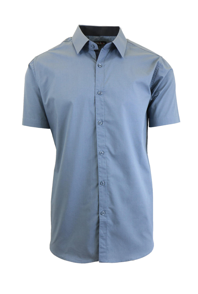 Mens Slim Fit Short Sleeve Button Down Dress Shirt-Grey-M-Daily Steals