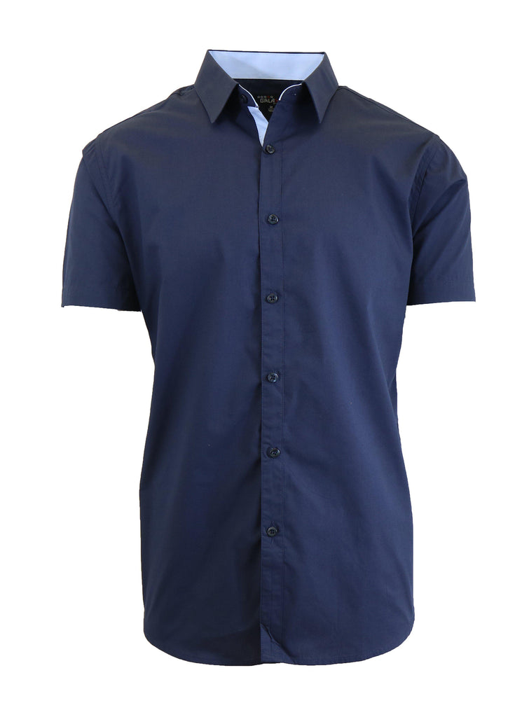 Mens Slim Fit Short Sleeve Button Down Dress Shirt-Navy-S-Daily Steals