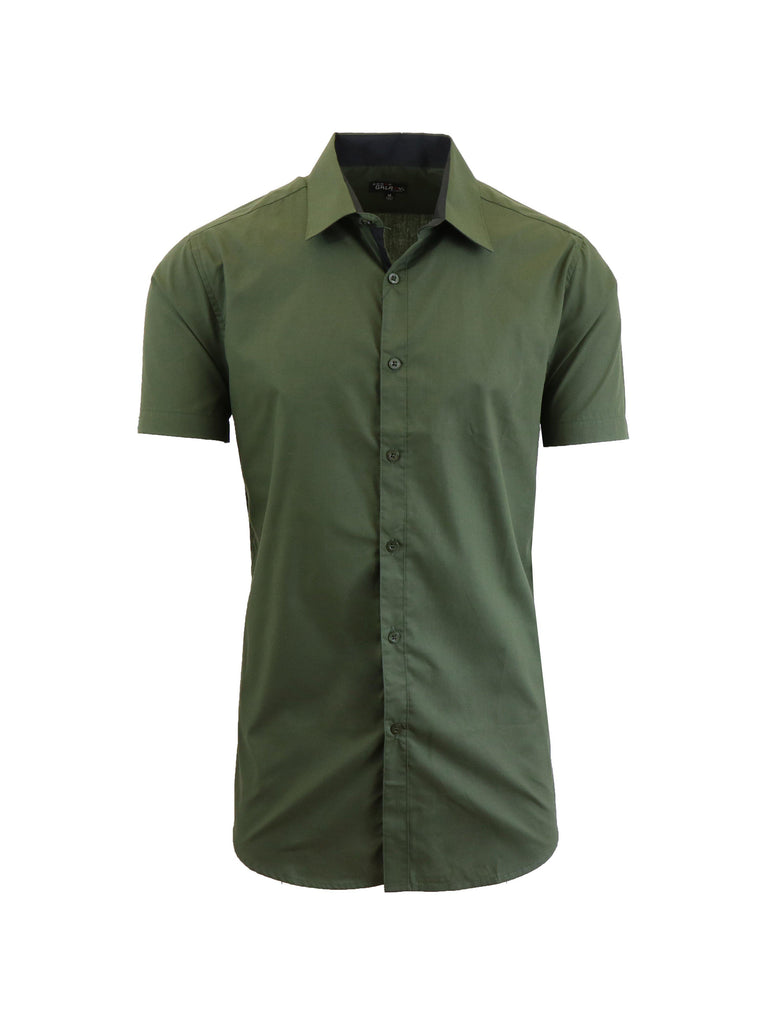 Mens Slim Fit Short Sleeve Button Down Dress Shirt-Olive-S-Daily Steals