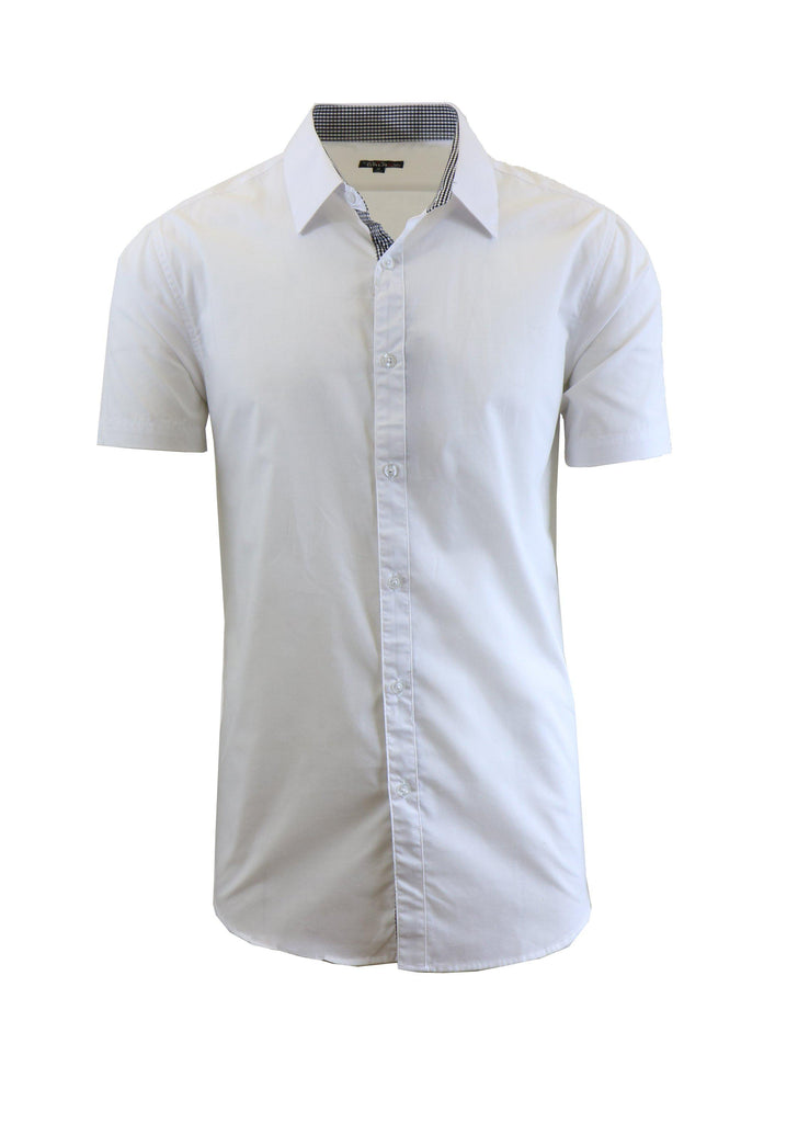 Mens Slim Fit Short Sleeve Button Down Dress Shirt-White-S-Daily Steals