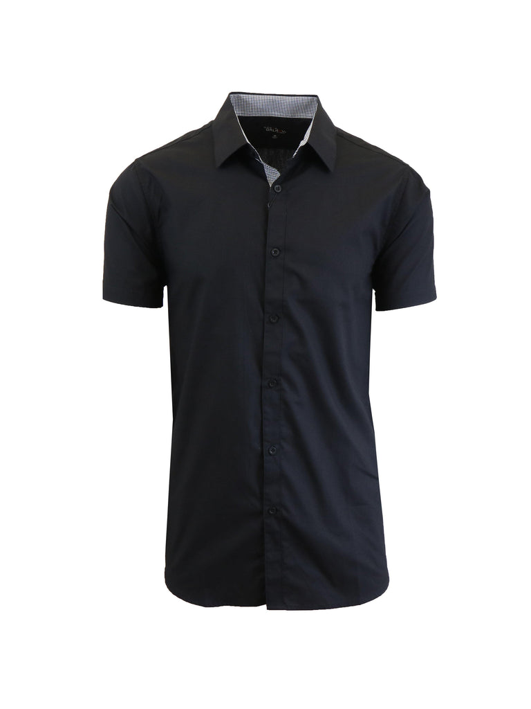 Mens Slim Fit Short Sleeve Button Down Dress Shirt-Black-S-Daily Steals