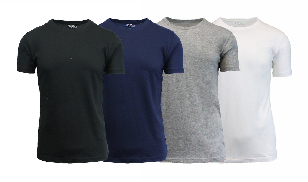 [4-Pack] Men's Short Sleeve Fitted Cotton Blend Tees-Black-Red-Royal-Navy-Medium-Daily Steals