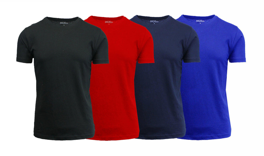 [4-Pack] Men's Short Sleeve Fitted Cotton Blend Tees-Black-White-Charcoal-Red-Medium-Daily Steals