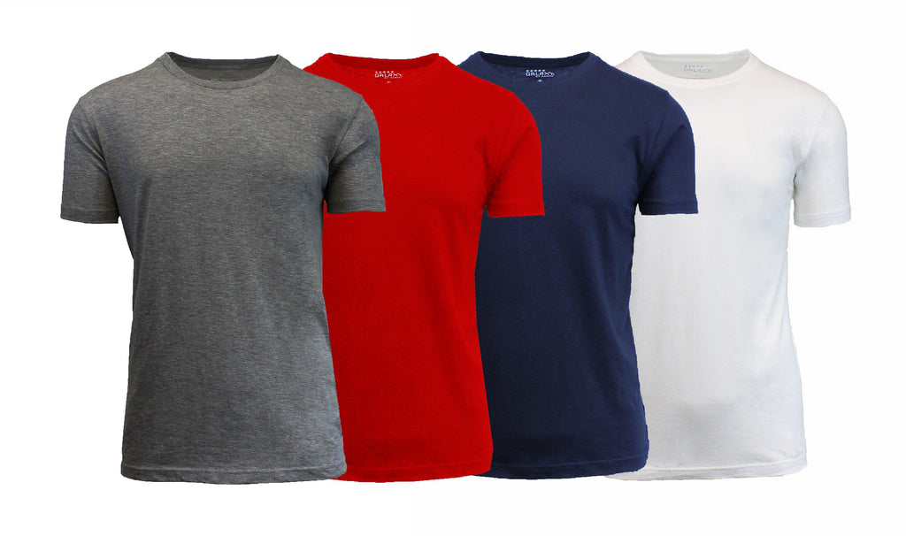 [4-Pack] Men's Short Sleeve Fitted Cotton Blend Tees-Black-Navy-Heather Grey-Charcoal-Medium-Daily Steals