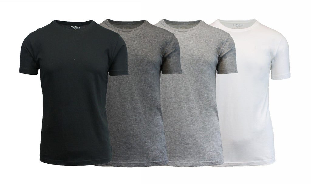 [4-Pack] Men's Short Sleeve Fitted Cotton Blend Tees-Daily Steals