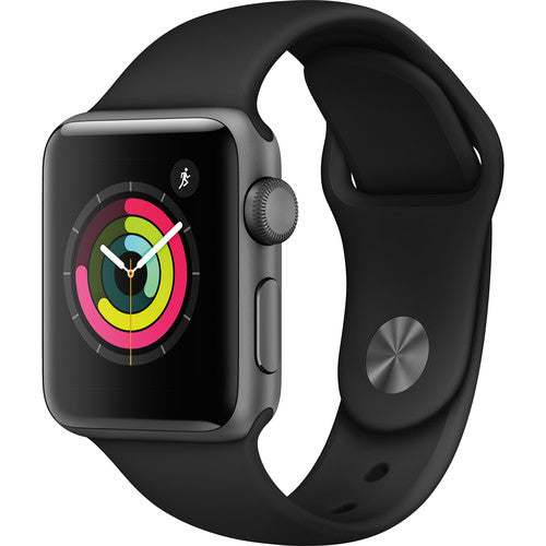 Apple Watch Series 3 Smartwatch (GPS Only)-38mm-Space Gray Aluminum Case with Black Sport Band-Daily Steals