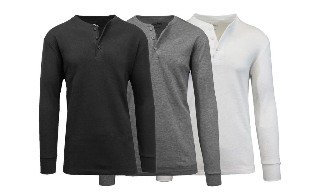 Men's Waffle-Knit Thermal Henley Tees - 3 Pack-Black - Charcoal - White-S-Daily Steals