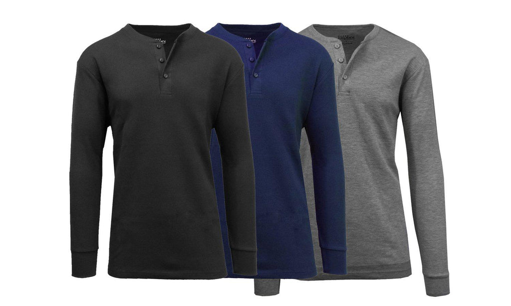 Men's Waffle-Knit Thermal Henley Tees - 3 Pack-Black - Navy - Charcoal-S-Daily Steals