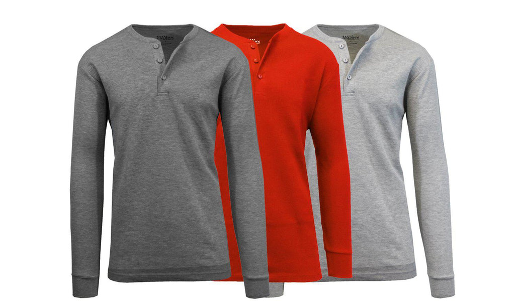 Men's Waffle-Knit Thermal Henley Tees - 3 Pack-Charcoal - Red - Heather Grey-M-Daily Steals