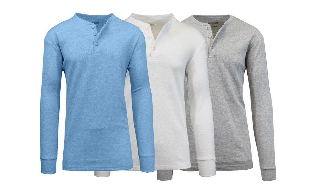Daily Steals-[3-Pack] Men's Waffle-Knit Thermal Henley Tees-Men's Apparel-Heather Medium Blue - White - Heather Grey-Large-