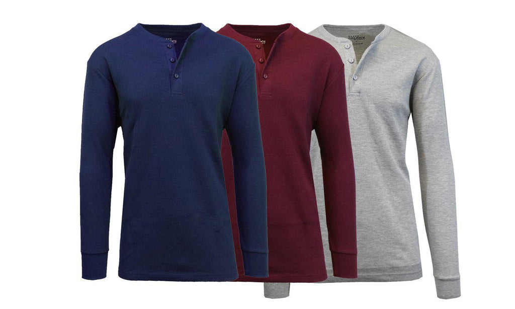 Men's Waffle-Knit Thermal Henley Tees - 3 Pack-Navy - Burgundy - Heather Grey-M-Daily Steals
