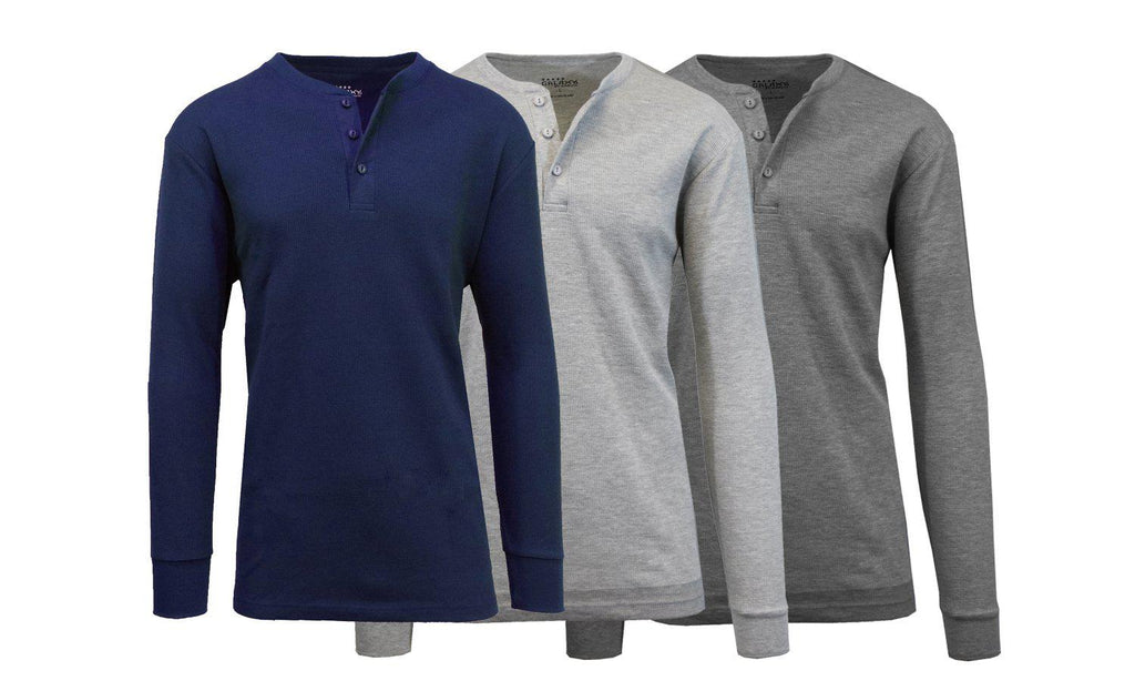 Men's Waffle-Knit Thermal Henley Tees - 3 Pack-Navy - Heather Grey - Charcoal-M-Daily Steals