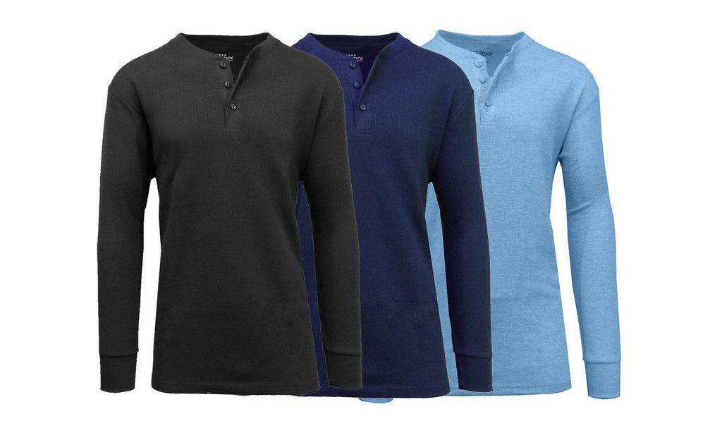Men's Waffle-Knit Thermal Henley Tees - 3 Pack-Black - Navy - Heather Medium Blue-L-Daily Steals