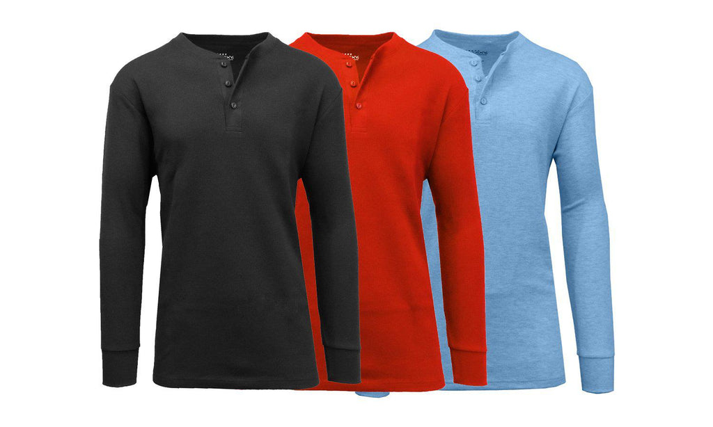 Men's Waffle-Knit Thermal Henley Tees - 3 Pack-Black - Red - Heather Medium Blue-M-Daily Steals