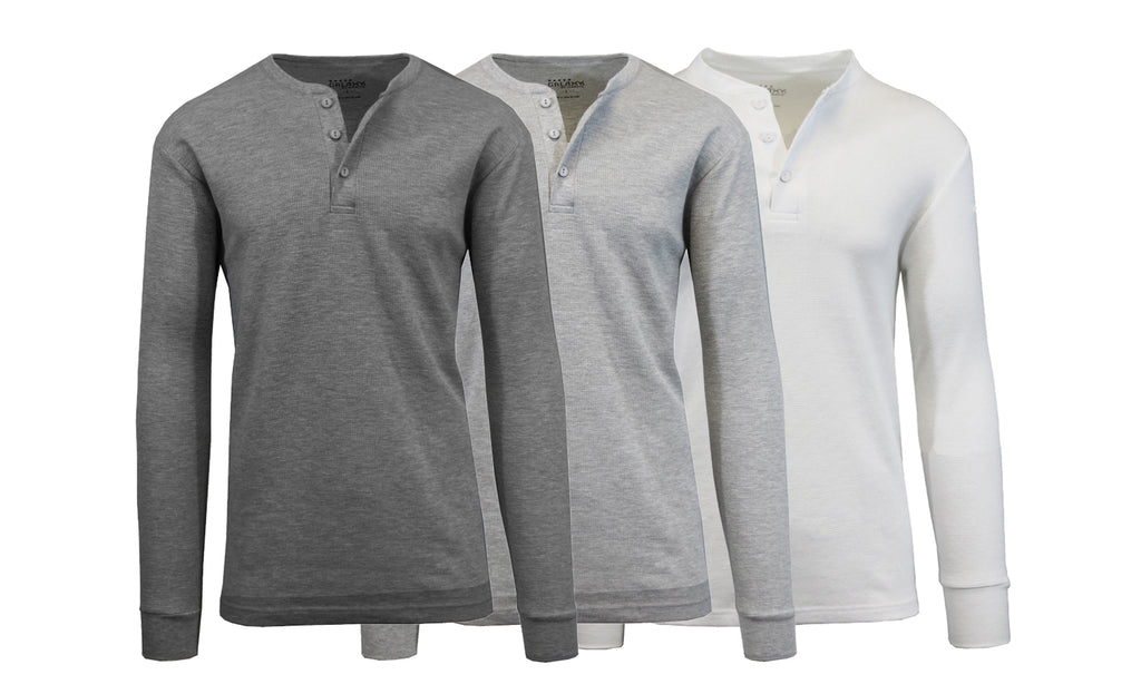 Daily Steals-[3-Pack] Men's Waffle-Knit Thermal Henley Tees-Men's Apparel-Charcoal - Heather Grey - White-Small-