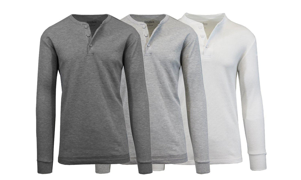 Men's Waffle-Knit Thermal Henley Tees - 3 Pack-Charcoal - Heather Grey - White-S-Daily Steals