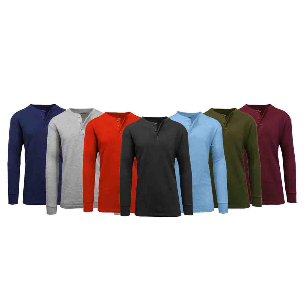 Men's Waffle-Knit Thermal Henley Tees - 3 Pack-Daily Steals