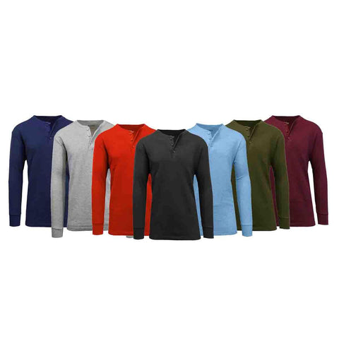 Daily Steals-Men's Waffle-Knit Thermal Henley Tees - 3 Pack-Men's Apparel-Black - Burgundy - Charcoal-Small-