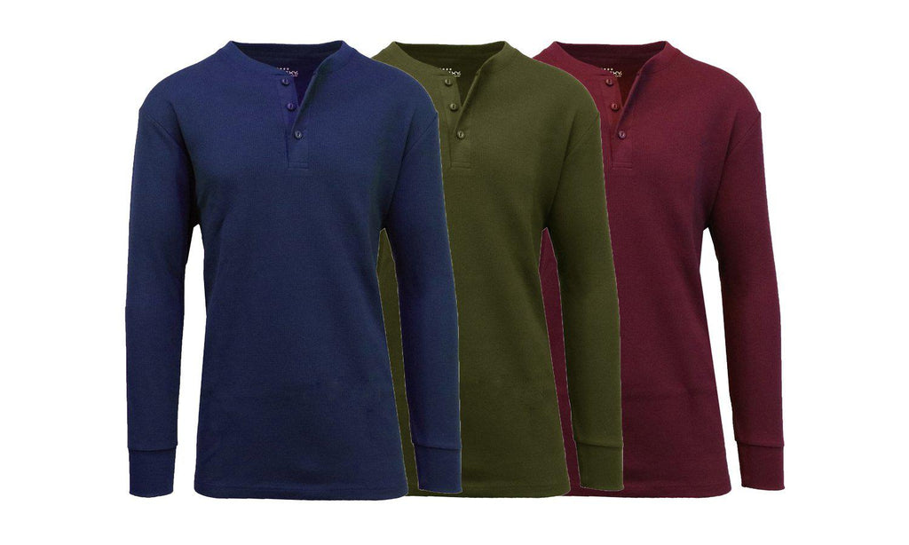 Men's Waffle-Knit Thermal Henley Tees - 3 Pack-Navy - Olive - Burgundy-S-Daily Steals
