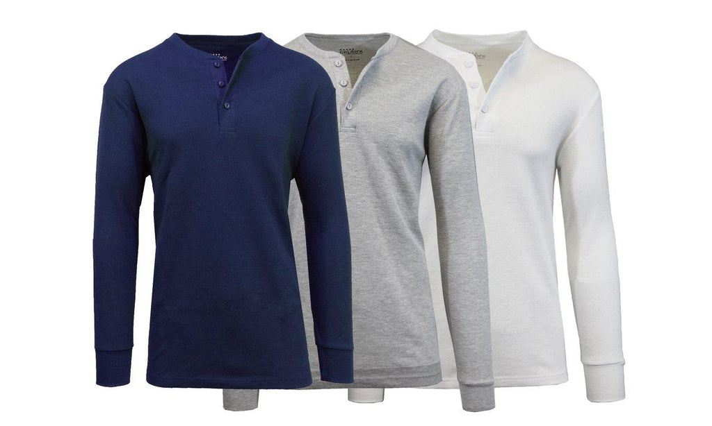 Men's Waffle-Knit Thermal Henley Tees - 3 Pack-Navy - Heather Grey - White-L-Daily Steals
