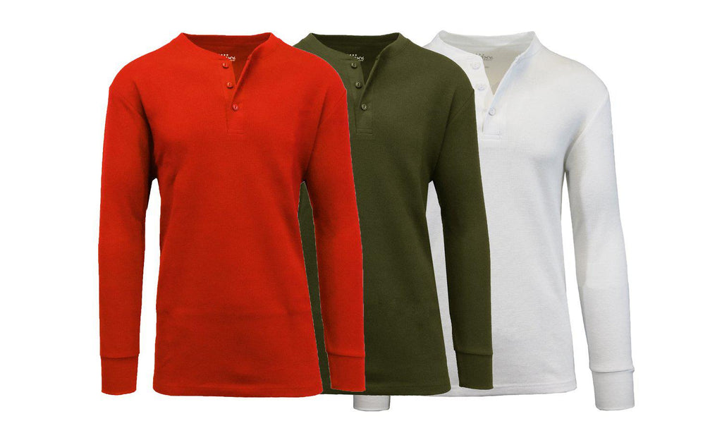 Men's Waffle-Knit Thermal Henley Tees - 3 Pack-Red - Olive - White-S-Daily Steals