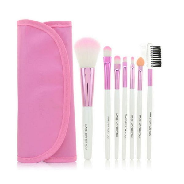 7 Piece High Quality Makeup Brush Set-Pink-Daily Steals