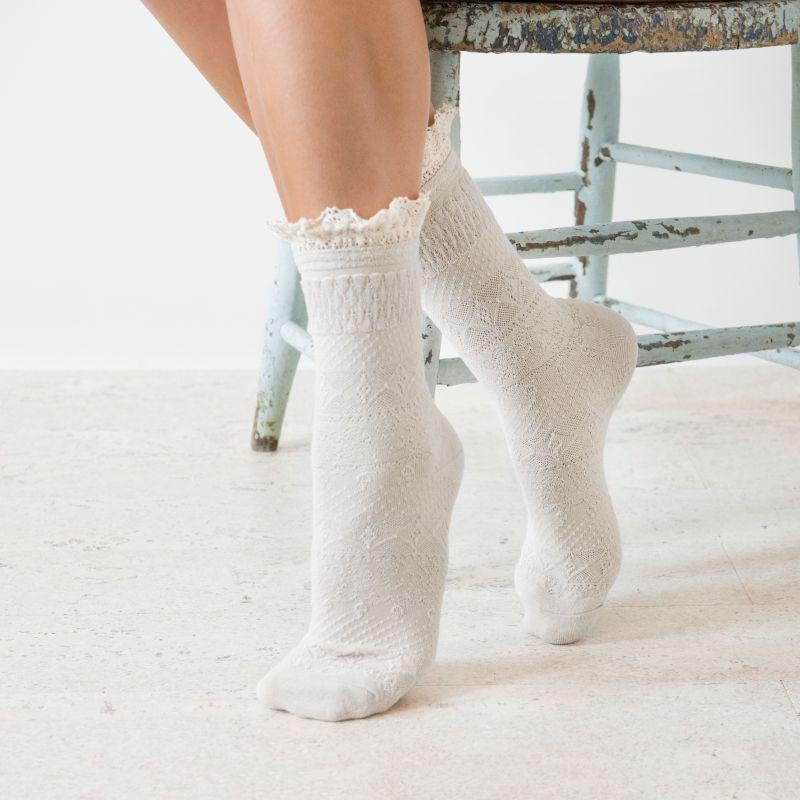 MUK LUKS Women's 3 Pair Pack Lace Top Boot Socks-Daily Steals