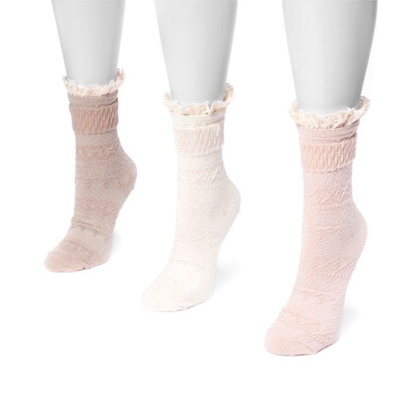 MUK LUKS Women's 3 Pair Pack Lace Top Boot Socks-Blush-One Size Fits Most-Daily Steals