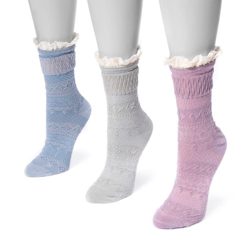 MUK LUKS Women's 3 Pair Pack Lace Top Boot Socks-Multi-One Size Fits Most-Daily Steals