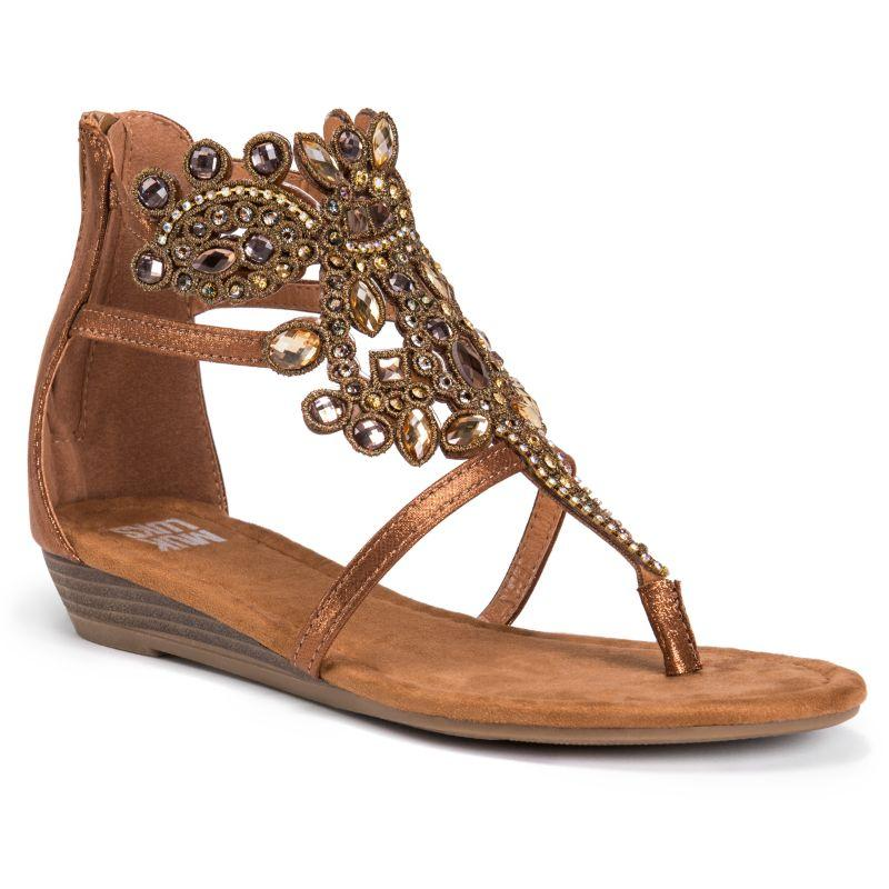 Muk Luks Women's Athena Embellished Sandals-Bronze-8-