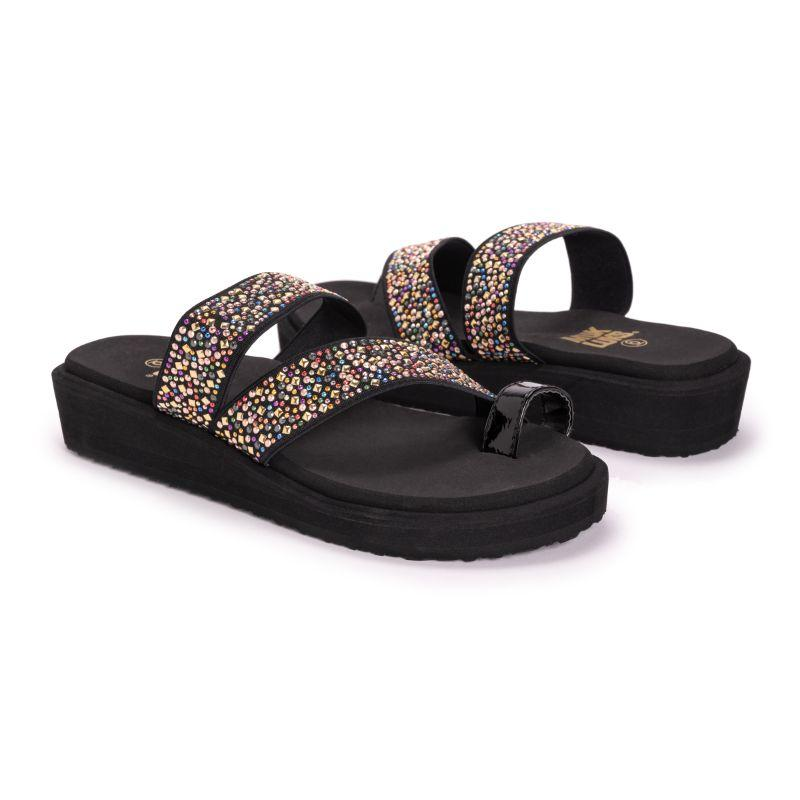 Muk Luks Women's Callie Eva Wedge Sandals-Black-6-