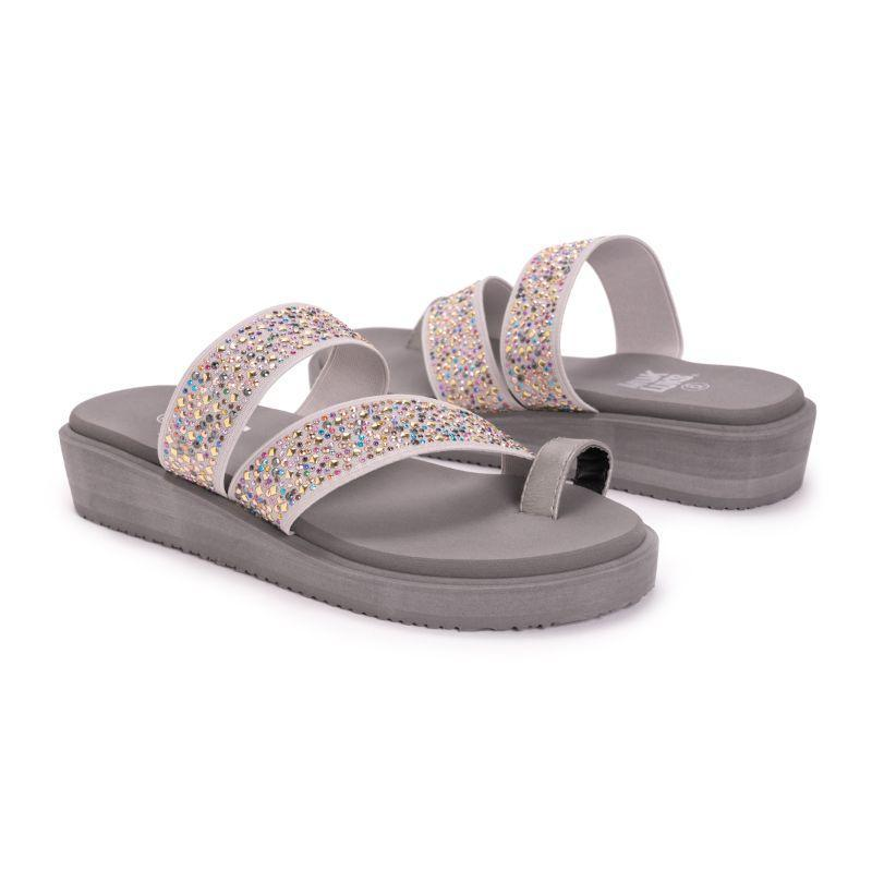 Muk Luks Women's Callie Eva Wedge Sandals-Gray-7-