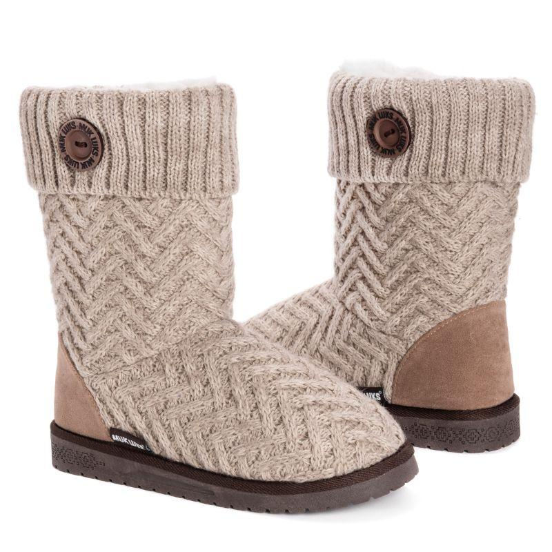 Muk Luks Women's Janet Boots-Taupe-9-