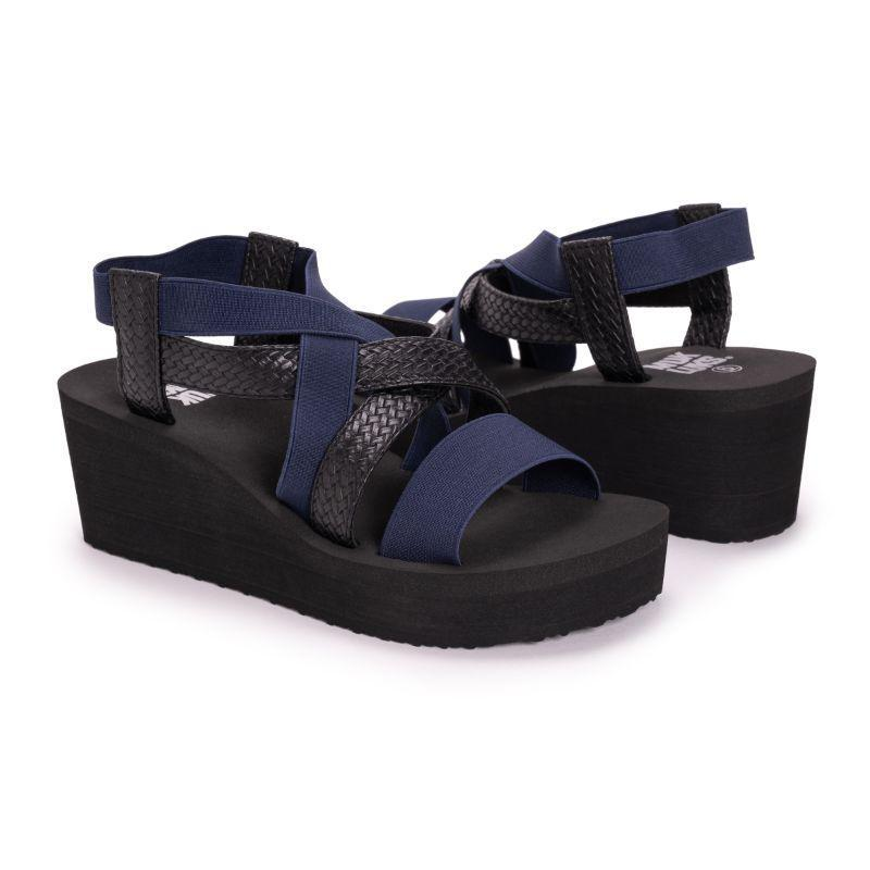 Muk Luks Women's Sabine Eva Wedge Sandals-Black/Blue-8-