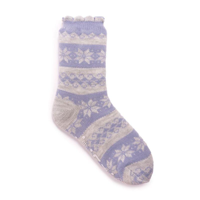Muk Luks Women's Scalloped Cabin Socks-Moonstone-L/XL (8-10)-