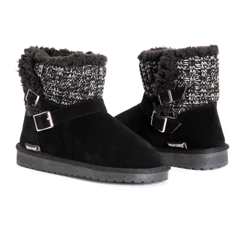 MUK LUKS Women's Alyx Boots-Black-6-Daily Steals
