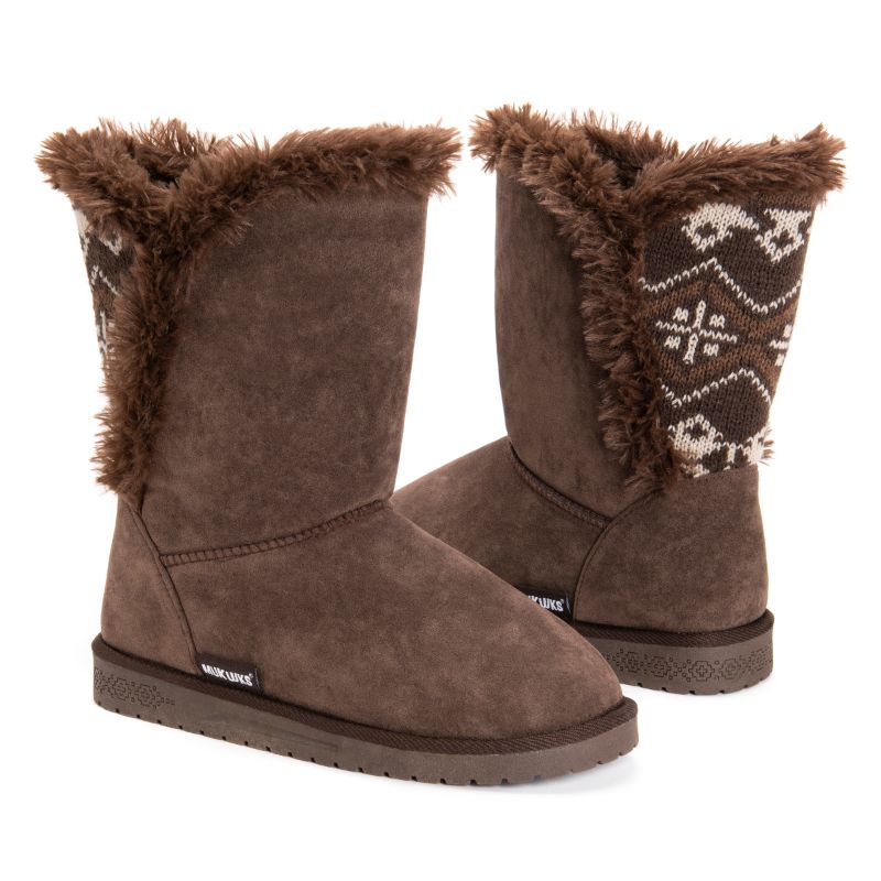 MUK LUKS Women's Carey Boots-Brown-6-Daily Steals