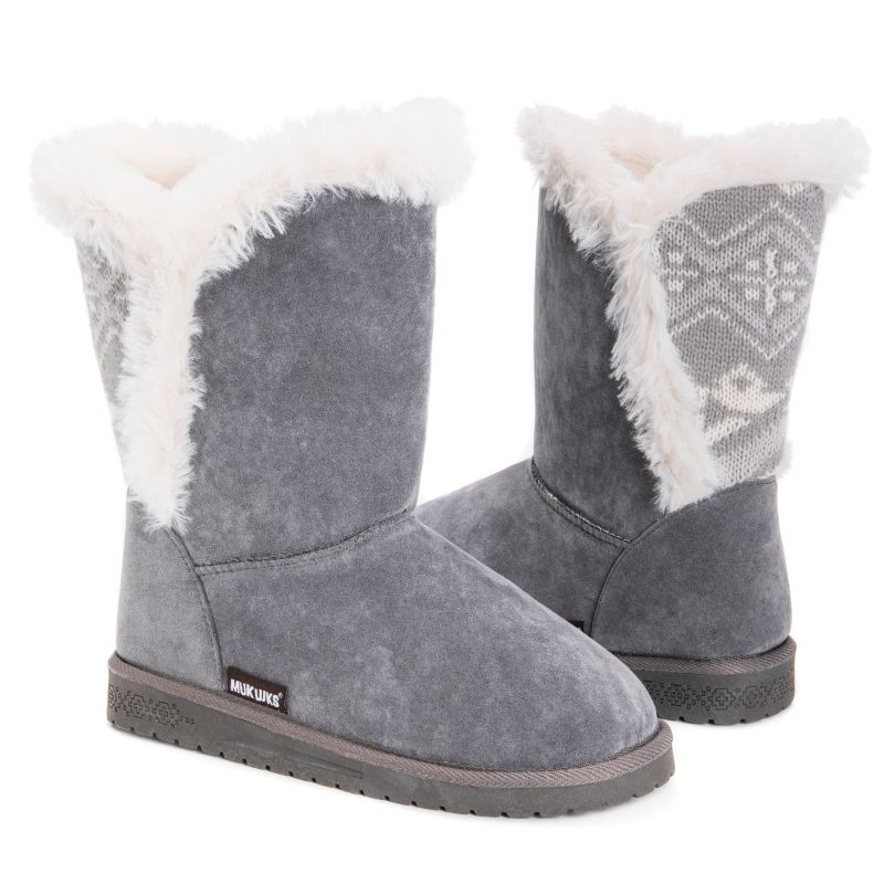 MUK LUKS Women's Carey Boots-Grey-6-Daily Steals