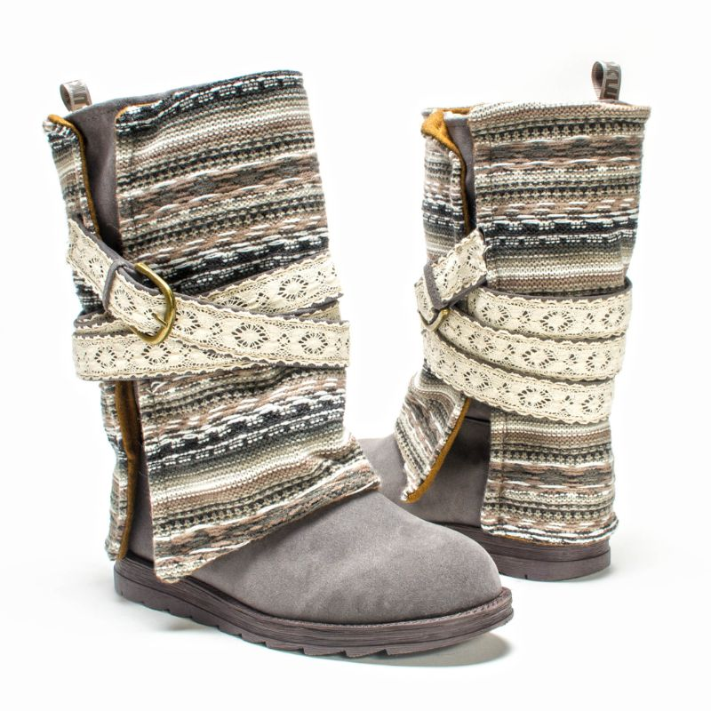 MUK LUKS Women's Nikki Boots-Lace Grey-11-Daily Steals