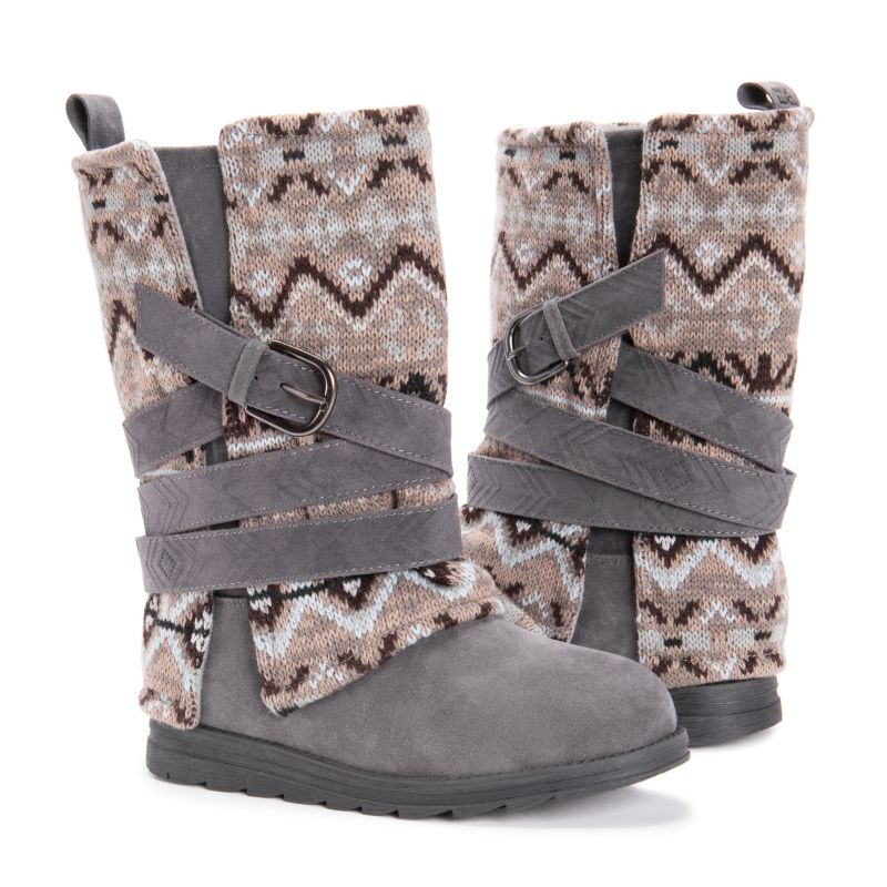 MUK LUKS Women's Nikki Boots-Grey-6-Daily Steals