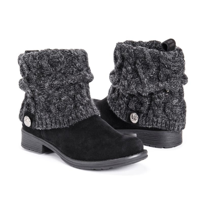MUK LUKS Women's Pattrice Boots-Peppered Black-6-Daily Steals