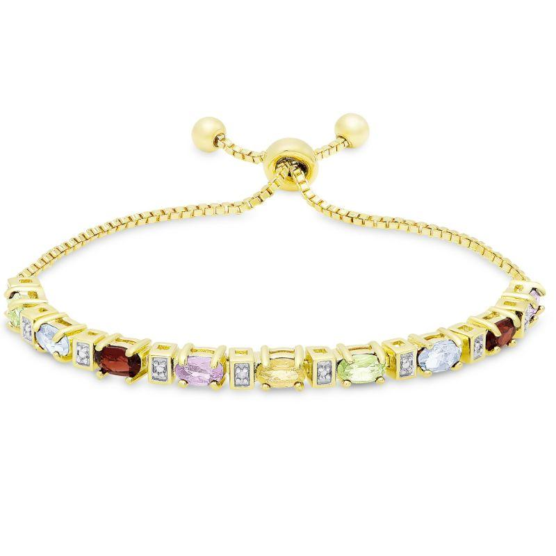 Multi-Gemstone Bar ID Bracelet Plated in 14K Yellow Gold-Daily Steals
