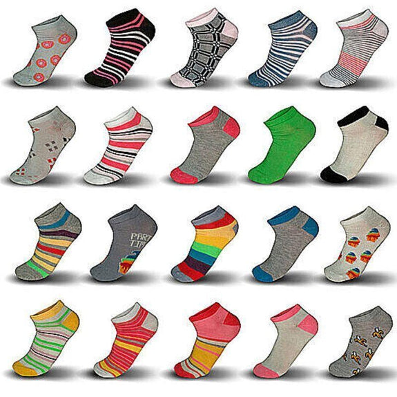 Multi-Pack Mystery Deal: Women's Fun Funky No Show Low Cut Ankle Socks-10 Pairs-
