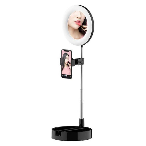 Multi-Purpose LED Selfie Mirror-Black-