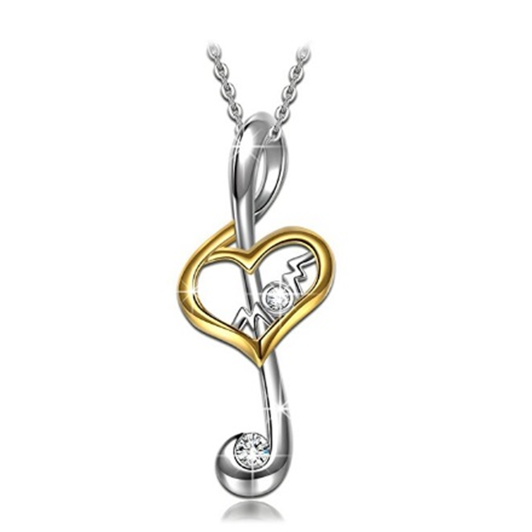 Daily Steals-Musical Note Cubic zirconia Mom Drop Necklace-Jewelry-
