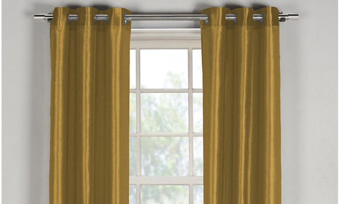 "Bali Faux Silk Grommet Window Panel Pairs-Mustard - 38"" x 84""-Daily Steals"
