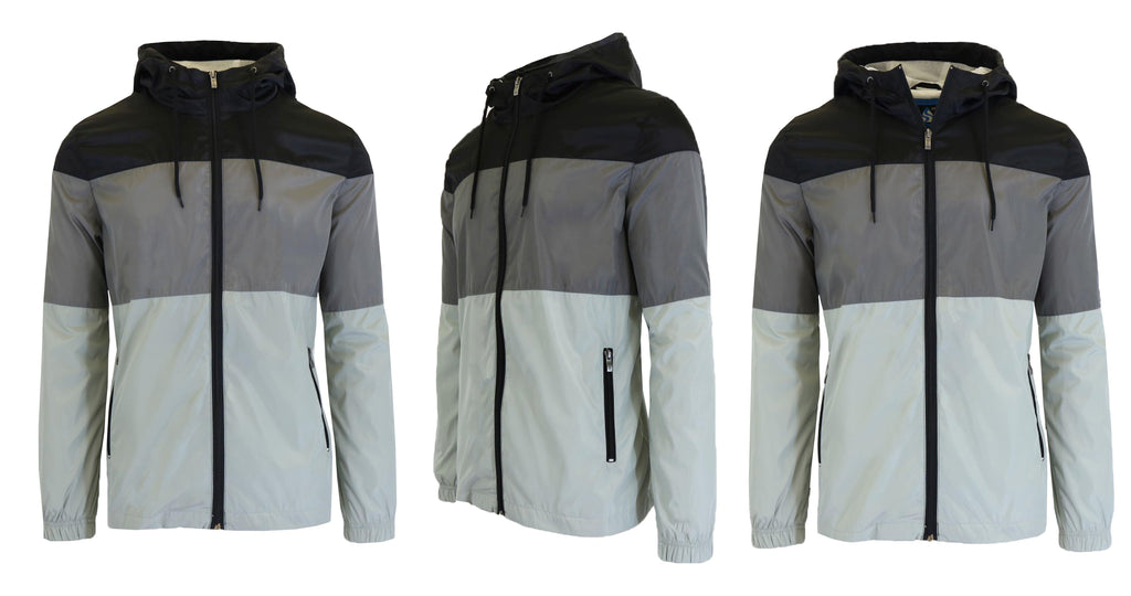 Men's Lightweight Full-Zip Hooded Windbreaker Jacket-Black/Charcoal/Grey-Black-S-Daily Steals
