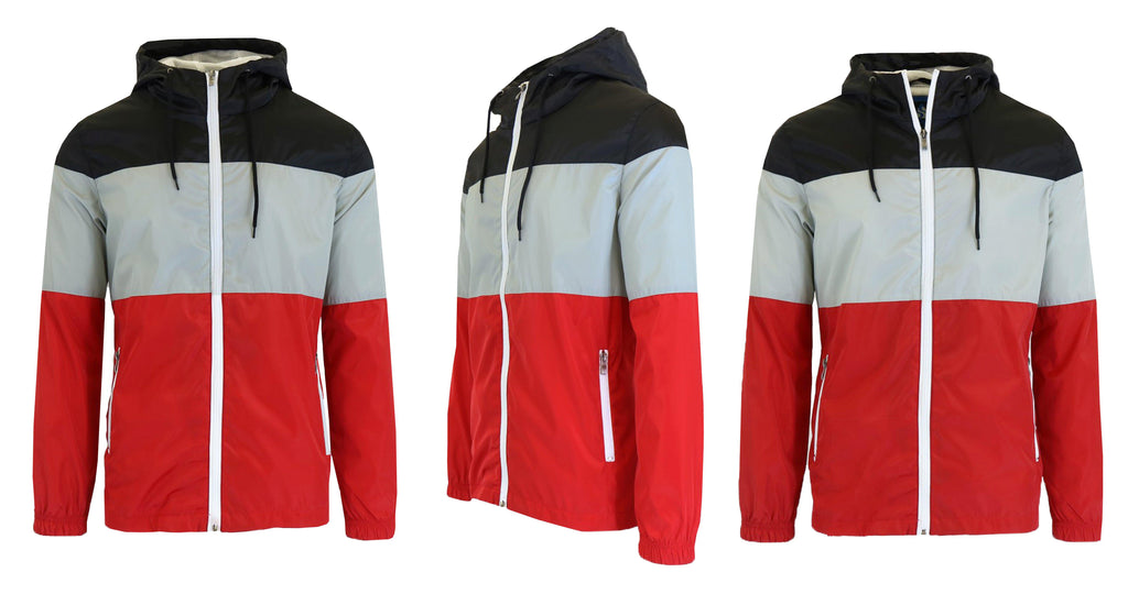 Men's Lightweight Full-Zip Hooded Windbreaker Jacket-Black/Red/Grey-Black-S-Daily Steals